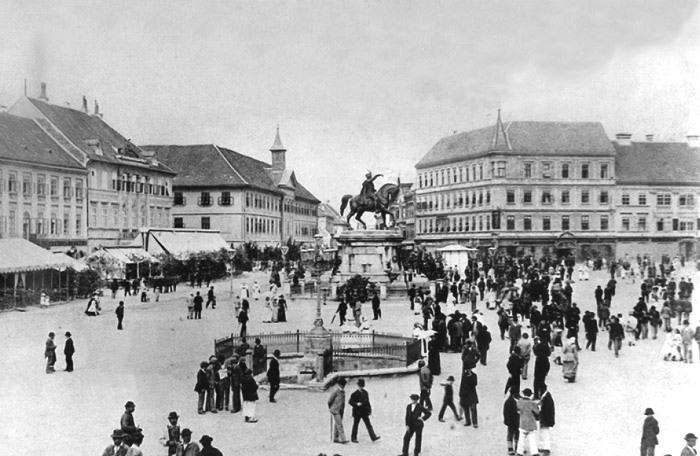 Povijest grada Zagreba 17_1890-Trg_bana_Jelacica_u_Zagrebu