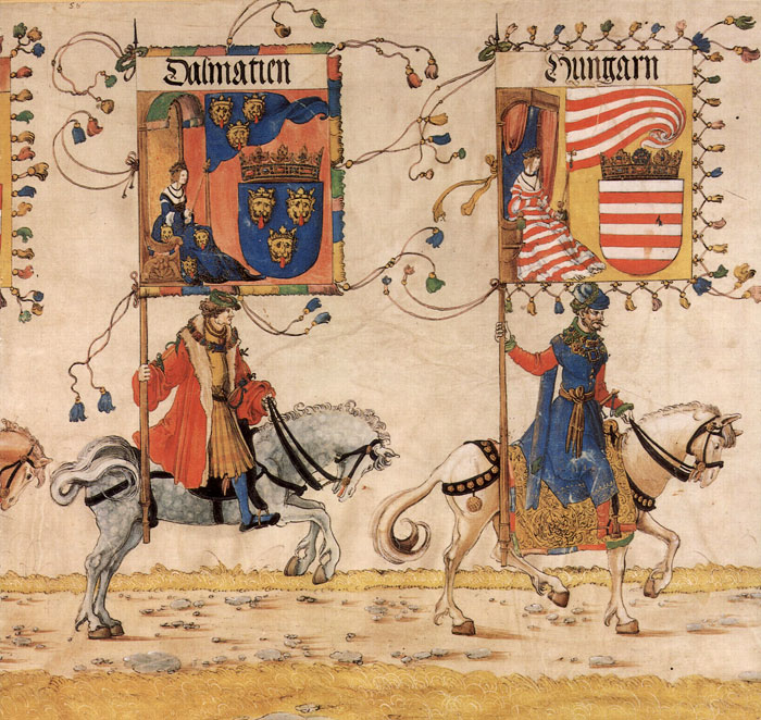 Trijumfalni marš cara Maksimilijana I. – zastave Hrvatske i Ugarske krune