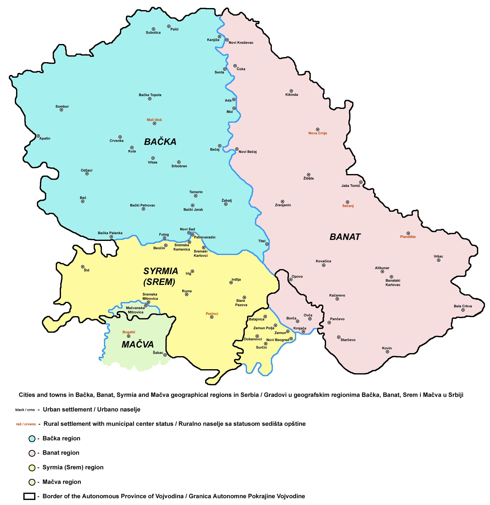 Vojvodina gradovi