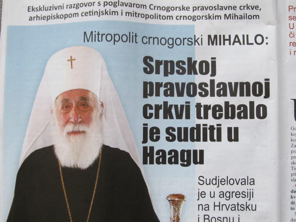 Crnogorski patrijarh upozorava ali ga nitko cu Hrvatskoj ne cuje