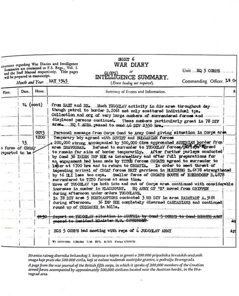 Stranica ratnog dnevnika britanskog 5. korpusa
